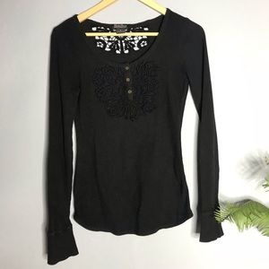 Lucky Brand Lace Black Waffle Knit Henley Shirt S